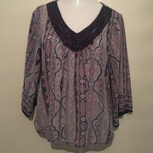 Maurices chiffon type blouse. V neck detail. XL